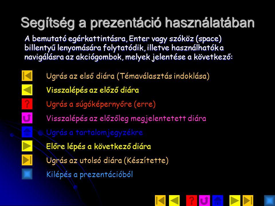 Segítség a prezentáció használatában A bemutató egérkattintásra, Enter vagy szóköz (space) billentyű lenyomására folytatódik, illetve használhatók a navigálásra az akciógombok, melyek jelentése a következő: Ugrás az első diára (Témaválasztás indoklása) Visszalépés az előző diára Ugrás a súgóképernyőre (erre) Visszalépés az előzőleg megjelentetett diára Ugrás a tartalomjegyzékre Előre lépés a következő diára Ugrás az utolsó diára (Készítette) Kilépés a prezentációból