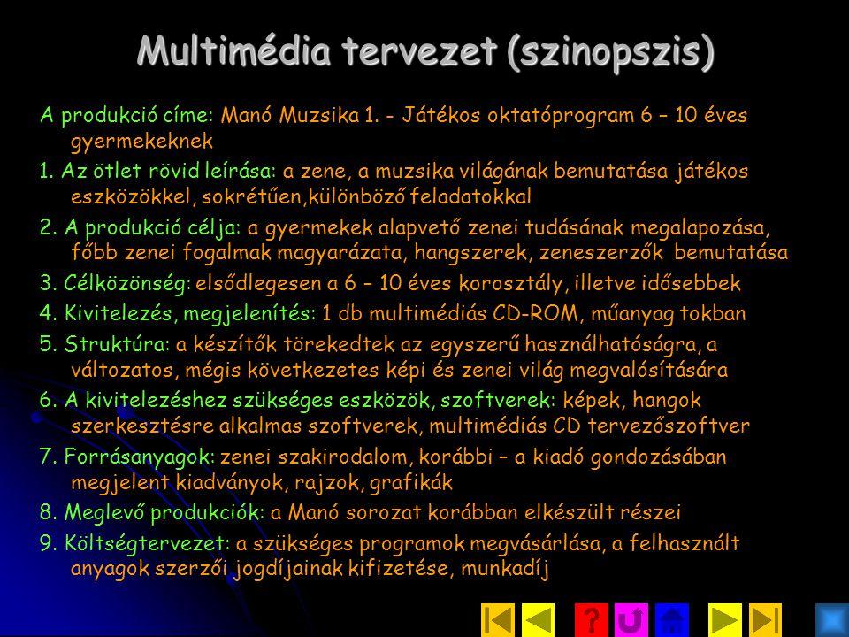 Multimédia tervezet (szinopszis) A produkció címe: Manó Muzsika 1.