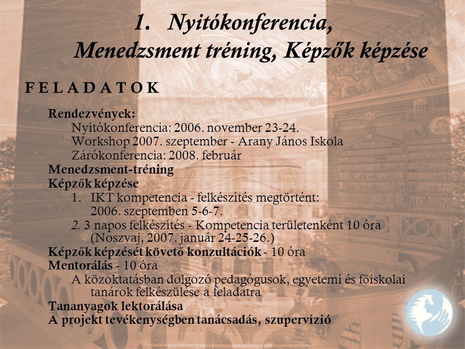 1.Nyitókonferencia, Menedzsment tréning, Képz ő k képzése F E L A D A T O K Rendezvények: Nyitókonferencia: 2006. november 23-24. Workshop 2007. szept