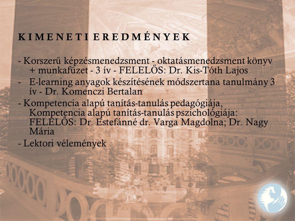 K I M E N E T I E R E D M É N Y E K - Korszer ű képzésmenedzsment - oktatásmenedzsment könyv + munkafüzet - 3 ív - FELEL Ő S: Dr. Kis-Tóth Lajos -E-le