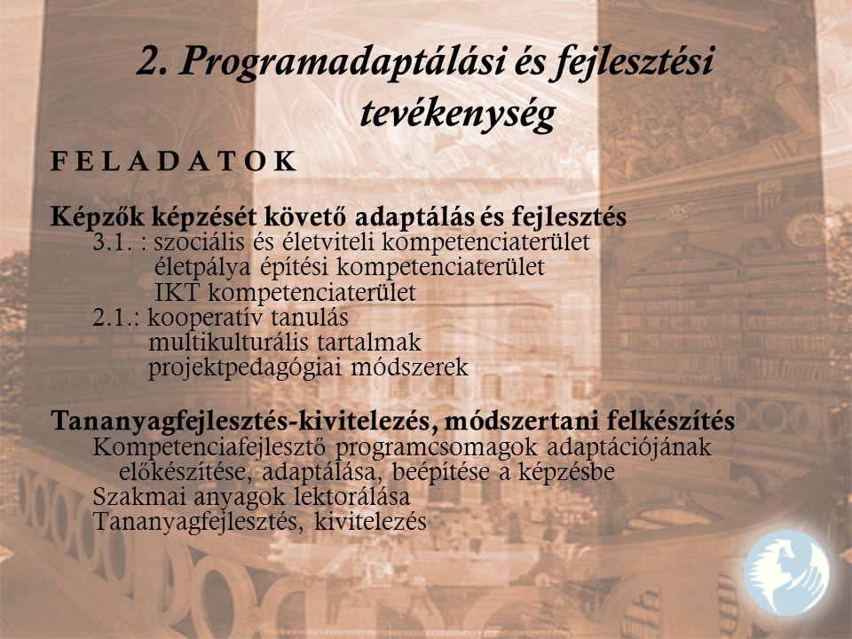 2. Programadaptálási és fejlesztési tevékenység F E L A D A T O K Képz ő k képzését követ ő adaptálás és fejlesztés 3.1. : szociális és életviteli kom
