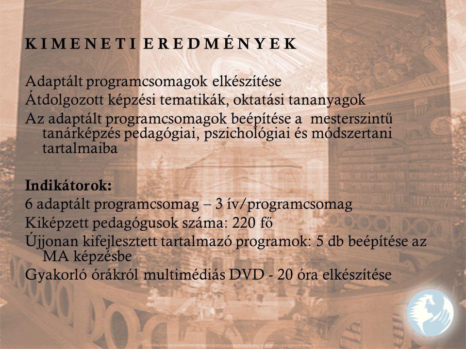K I M E N E T I E R E D M É N Y E K Adaptált programcsomagok elkészítése Átdolgozott képzési tematikák, oktatási tananyagok Az adaptált programcsomago