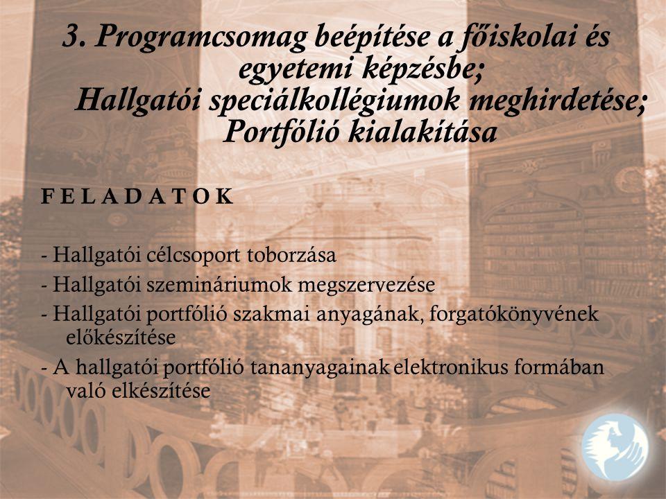 3. Programcsomag beépítése a f ő iskolai és egyetemi képzésbe; Hallgatói speciálkollégiumok meghirdetése; Portfólió kialakítása F E L A D A T O K - Ha