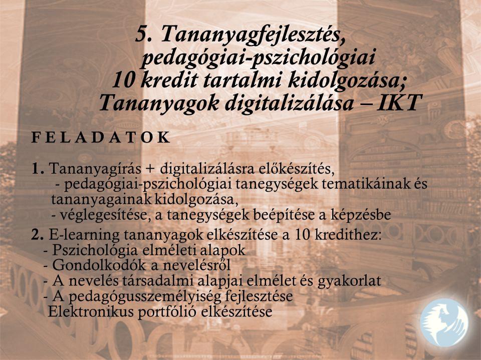 5. Tananyagfejlesztés, pedagógiai-pszichológiai 10 kredit tartalmi kidolgozása; Tananyagok digitalizálása – IKT F E L A D A T O K 1. Tananyagírás + di