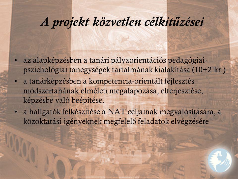 A projekt közvetlen célkit ű zései az alapképzésben a tanári pályaorientációs pedagógiai- pszichológiai tanegységek tartalmának kialakítása (10+2 kr.)