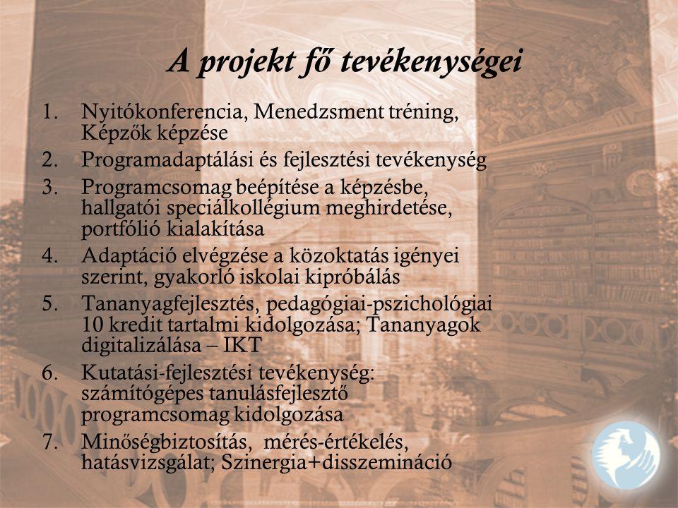 A projekt f ő tevékenységei 1.Nyitókonferencia, Menedzsment tréning, Képz ő k képzése 2.Programadaptálási és fejlesztési tevékenység 3.Programcsomag b