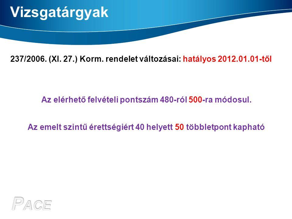 Vizsgatárgyak 237/2006. (XI. 27.) Korm. rendelet változásai: hatályos 2012.01.01-től Az elérhető felvételi pontszám 480-ról 500-ra módosul. Az emelt s