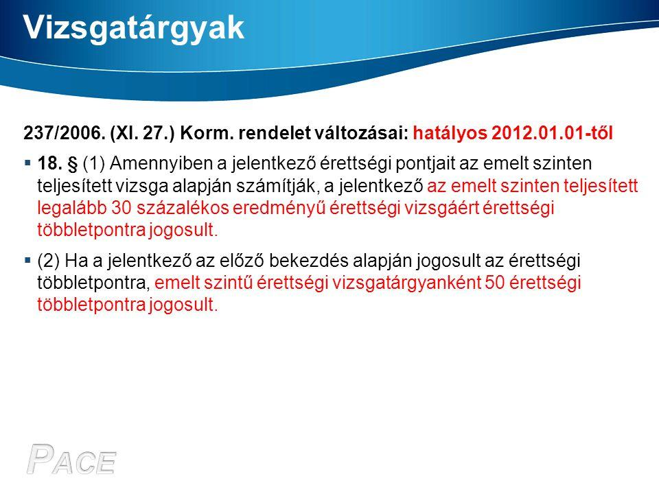 Vizsgatárgyak 237/2006. (XI. 27.) Korm. rendelet változásai: hatályos 2012.01.01-től  18. § (1) Amennyiben a jelentkező érettségi pontjait az emelt s