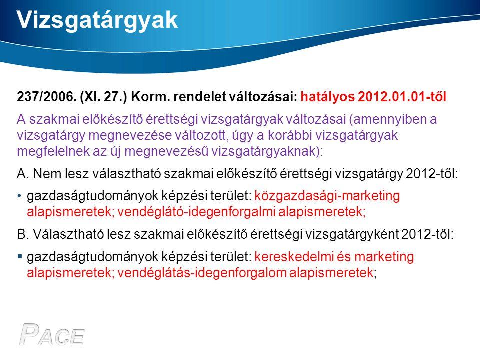Vizsgatárgyak 237/2006. (XI. 27.) Korm. rendelet változásai: hatályos 2012.01.01-től A szakmai előkészítő érettségi vizsgatárgyak változásai (amennyib