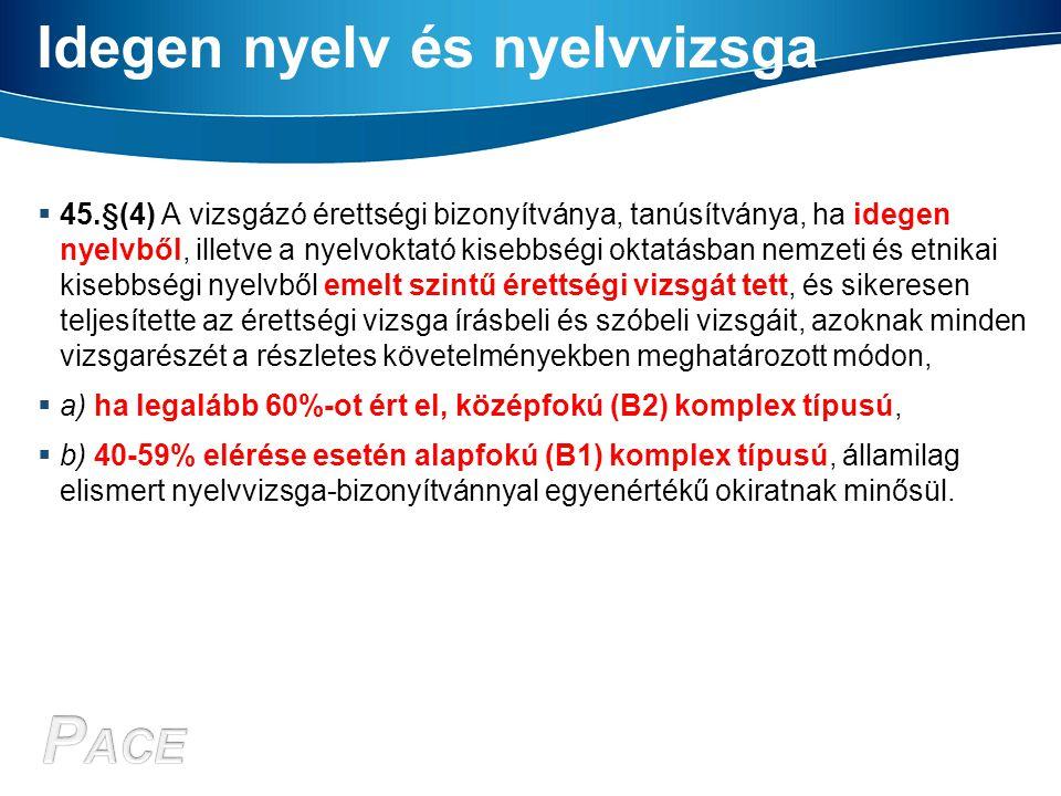 Idegen nyelv és nyelvvizsga  45.§(4) A vizsgázó érettségi bizonyítványa, tanúsítványa, ha idegen nyelvből, illetve a nyelvoktató kisebbségi oktatásba