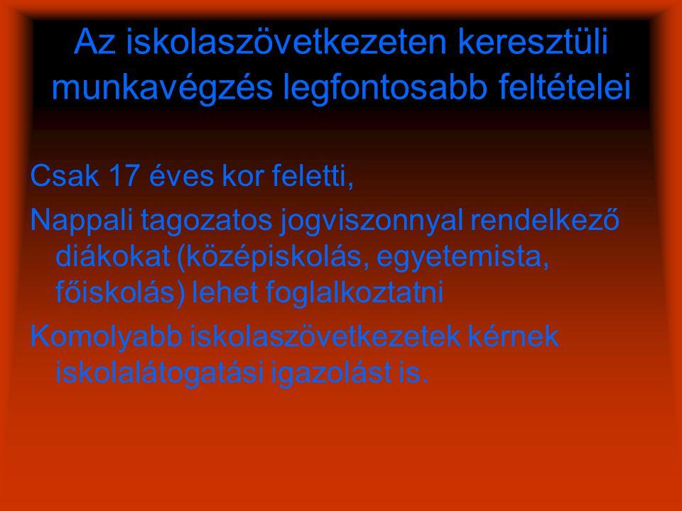 Híresebb iskolaszövetkezetek www.melodiak.hu/ www.furgediak.hu/ www.pannonwork.hu/diakmunka/ www.jobbkezek.hu/ www.muisz.hu/diakmunka/