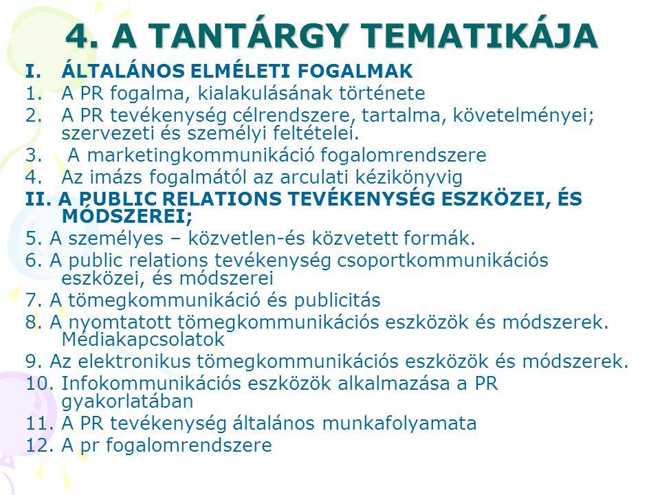 4. A TANTÁRGY TEMATIKÁJA I.ÁLTALÁNOS ELMÉLETI FOGALMAK 1.A PR fogalma, kialakulásának története 2.A PR tevékenység célrendszere, tartalma, követelmény