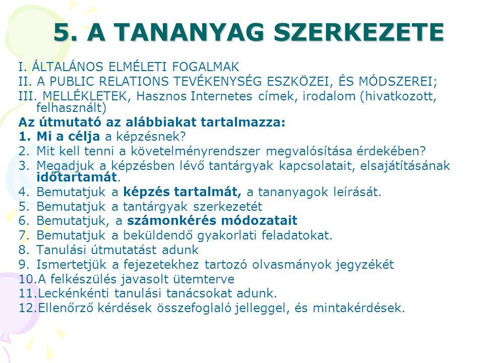 5.A TANANYAG SZERKEZETE I. ÁLTALÁNOS ELMÉLETI FOGALMAK II.