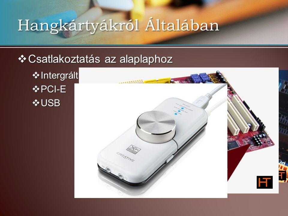Hangkártyákról Általában  Csatlakoztatás az alaplaphoz  Intergrált hangkártya  PCI-E  USB