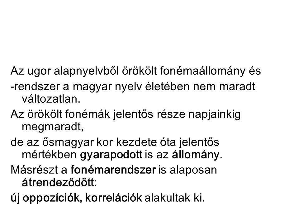 Az ugor alapnyelvből örökölt fonémaállomány és -rendszer a magyar nyelv életében nem maradt változatlan. Az örökölt fonémák jelentős része napjainkig