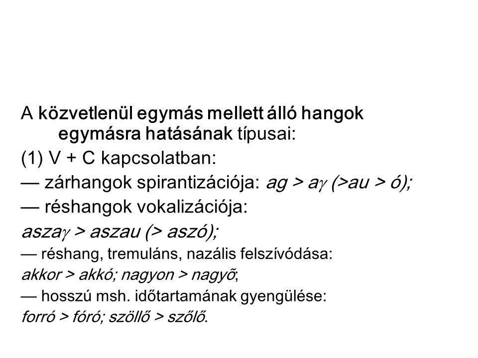 A közvetlenül egymás mellett álló hangok egymásra hatásának típusai: (1) V + C kapcsolatban: — zárhangok spirantizációja: ag > a  (>au > ó); — réshan