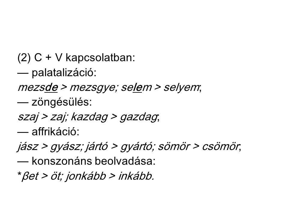 (2) C + V kapcsolatban: — palatalizáció: mezsde > mezsgye; selem > selyem; — zöngésülés: szaj > zaj; kazdag > gazdag; — affrikáció: jász > gyász; járt