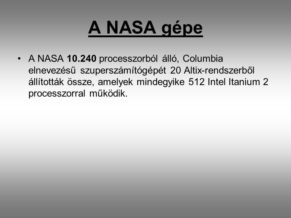 A NASA gépe A NASA 10.240 processzorból álló, Columbia elnevezésű szuperszámítógépét 20 Altix-rendszerből állították össze, amelyek mindegyike 512 Intel Itanium 2 processzorral működik.
