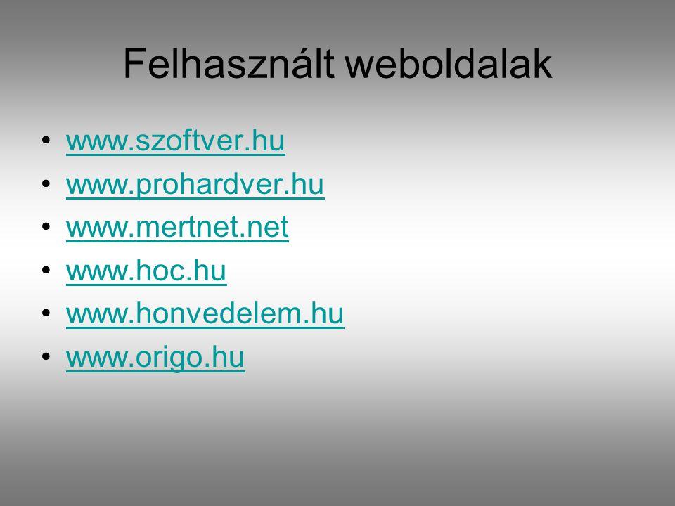 Felhasznált weboldalak www.szoftver.hu www.prohardver.hu www.mertnet.net www.hoc.hu www.honvedelem.hu www.origo.hu