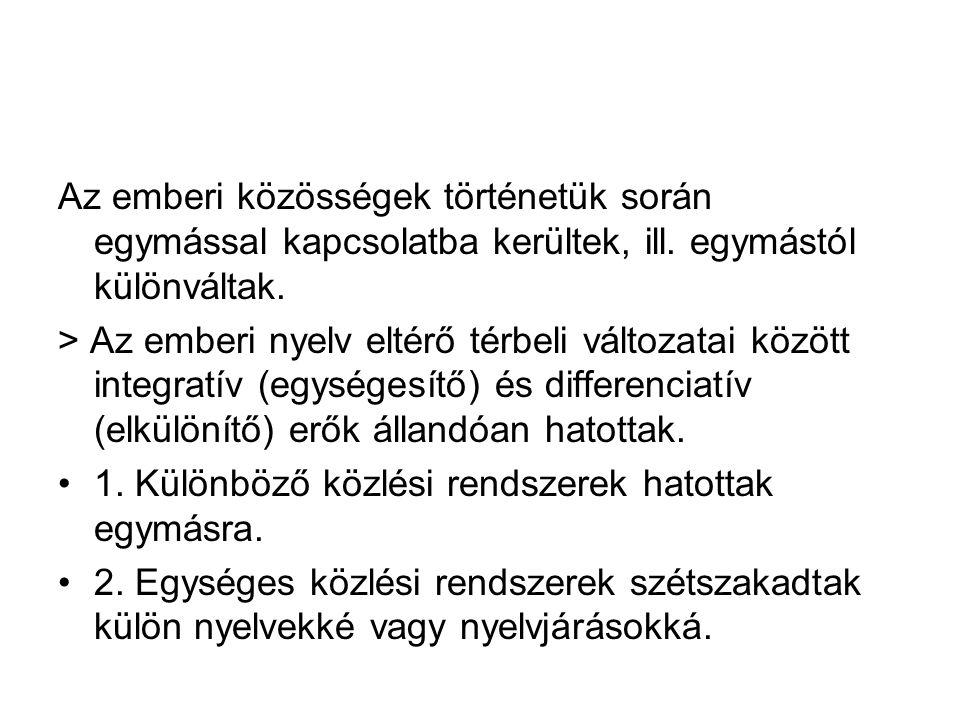 > Az egyes nyelvi rendszerek különbözősége. Az emberi nyelv nem egységes közlési rendszer: > változatosság > változatok. Az emberi nyelv élete térbeli