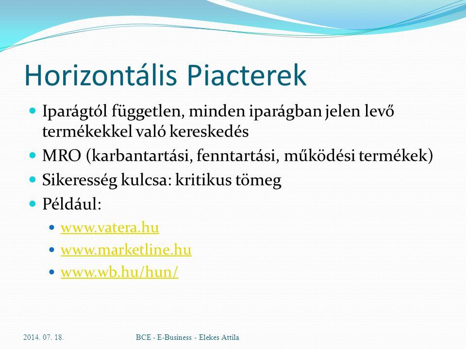 Horizontális Piacterek Iparágtól független, minden iparágban jelen levő termékekkel való kereskedés MRO (karbantartási, fenntartási, működési termékek