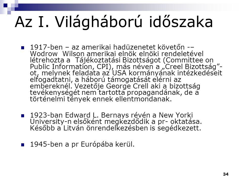 34 Az I. Világháború időszaka 1917-ben – az amerikai hadüzenetet követőn -– Wodrow Wilson amerikai elnök elnöki rendeletével létrehozta a Tájékoztatás