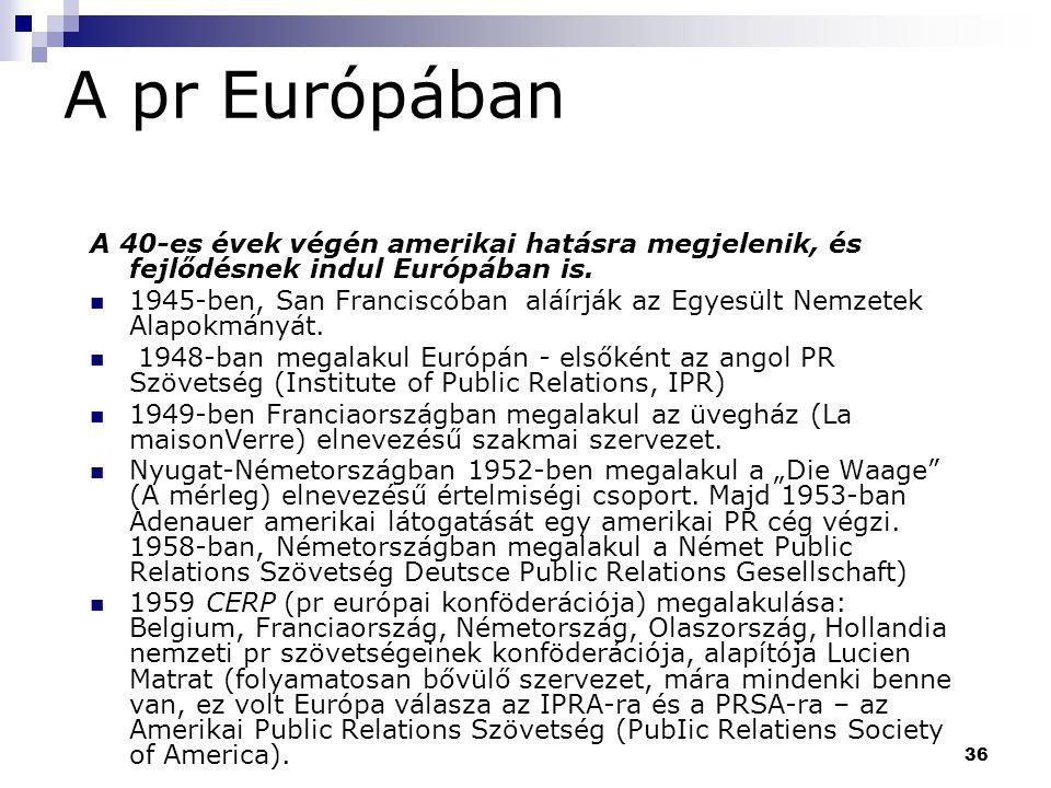 36 A pr Európában A 40-es évek végén amerikai hatásra megjelenik, és fejlődésnek indul Európában is. 1945-ben, San Franciscóban aláírják az Egyesült N