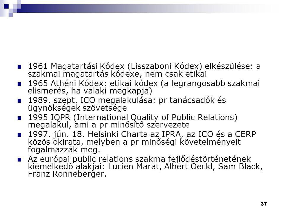 37 1961 Magatartási Kódex (Lisszaboni Kódex) elkészülése: a szakmai magatartás kódexe, nem csak etikai 1965 Athéni Kódex: etikai kódex (a legrangosabb
