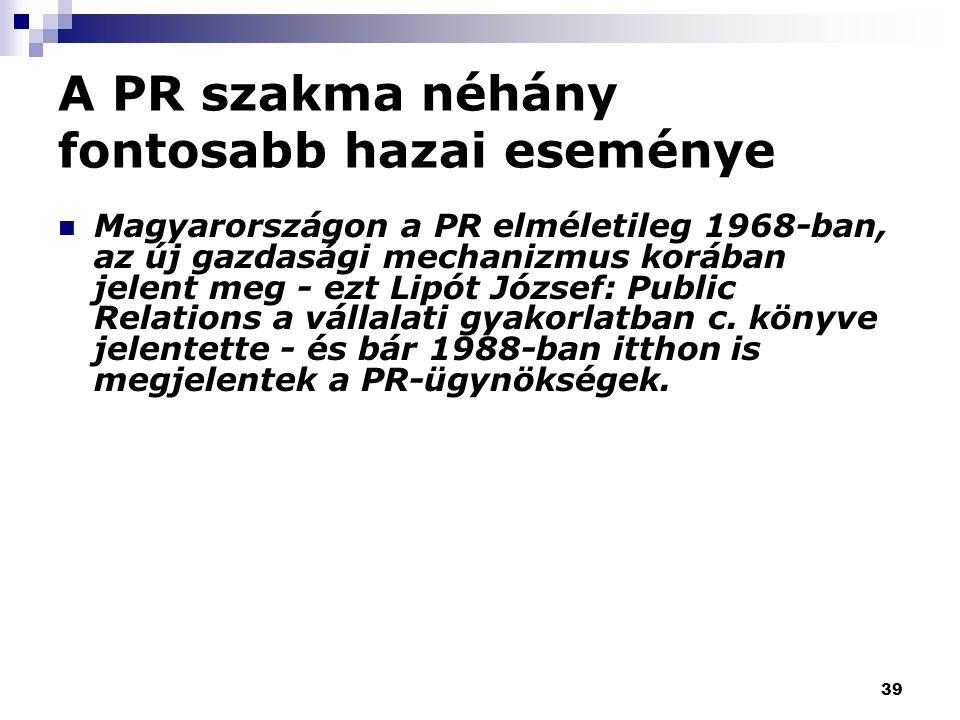 39 A PR szakma néhány fontosabb hazai eseménye Magyarországon a PR elméletileg 1968-ban, az új gazdasági mechanizmus korában jelent meg - ezt Lipót József: Public Relations a vállalati gyakorlatban c.