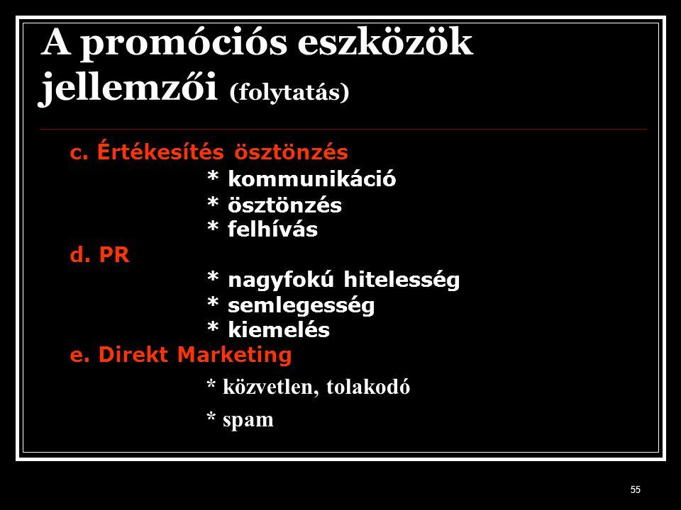 55 A promóciós eszközök jellemzői (folytatás) c. Értékesítés ösztönzés * kommunikáció * ösztönzés * felhívás d. PR * nagyfokú hitelesség * semlegesség