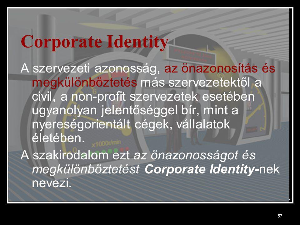 57 Corporate Identity A szervezeti azonosság, az önazonosítás és megkülönböztetés más szervezetektől a civil, a non-profit szervezetek esetében ugyanolyan jelentőséggel bír, mint a nyereségorientált cégek, vállalatok életében.