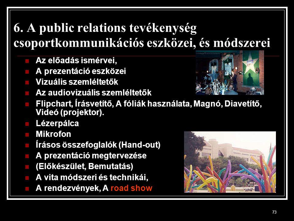 73 6. A public relations tevékenység csoportkommunikációs eszközei, és módszerei Az előadás ismérvei, A prezentáció eszközei Vizuális szemléltetők Az