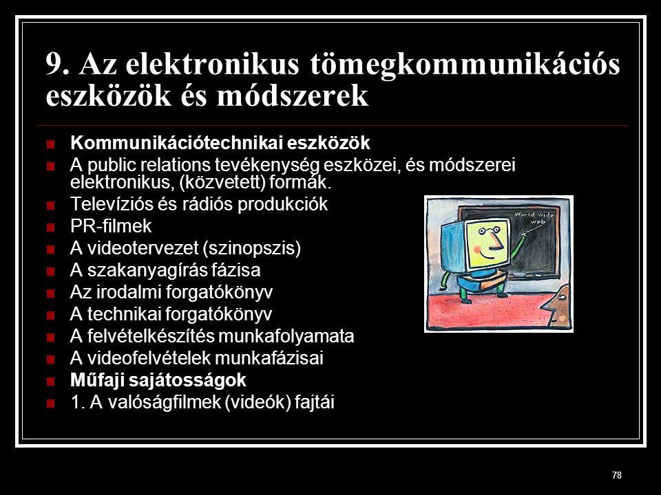 78 9. Az elektronikus tömegkommunikációs eszközök és módszerek Kommunikációtechnikai eszközök A public relations tevékenység eszközei, és módszerei el