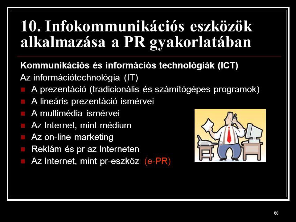 80 10. Infokommunikációs eszközök alkalmazása a PR gyakorlatában Kommunikációs és információs technológiák (ICT) Az információtechnológia (IT) A preze