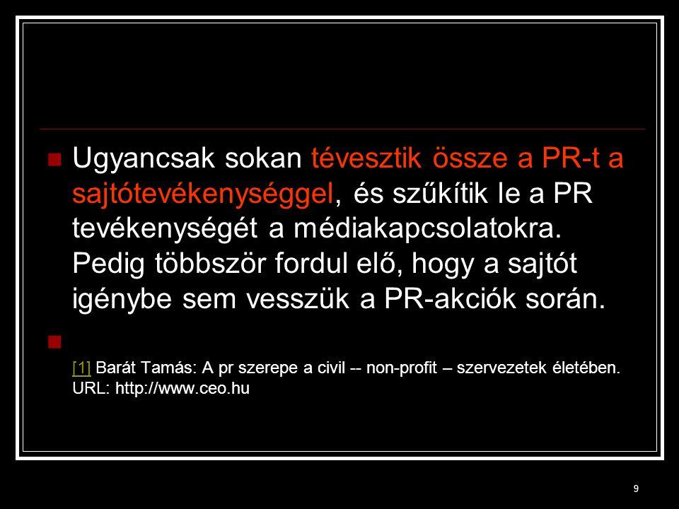 40 1990.december 27-én létrejött a szakma szervezete, a Magyar Public Relations Szövetség.