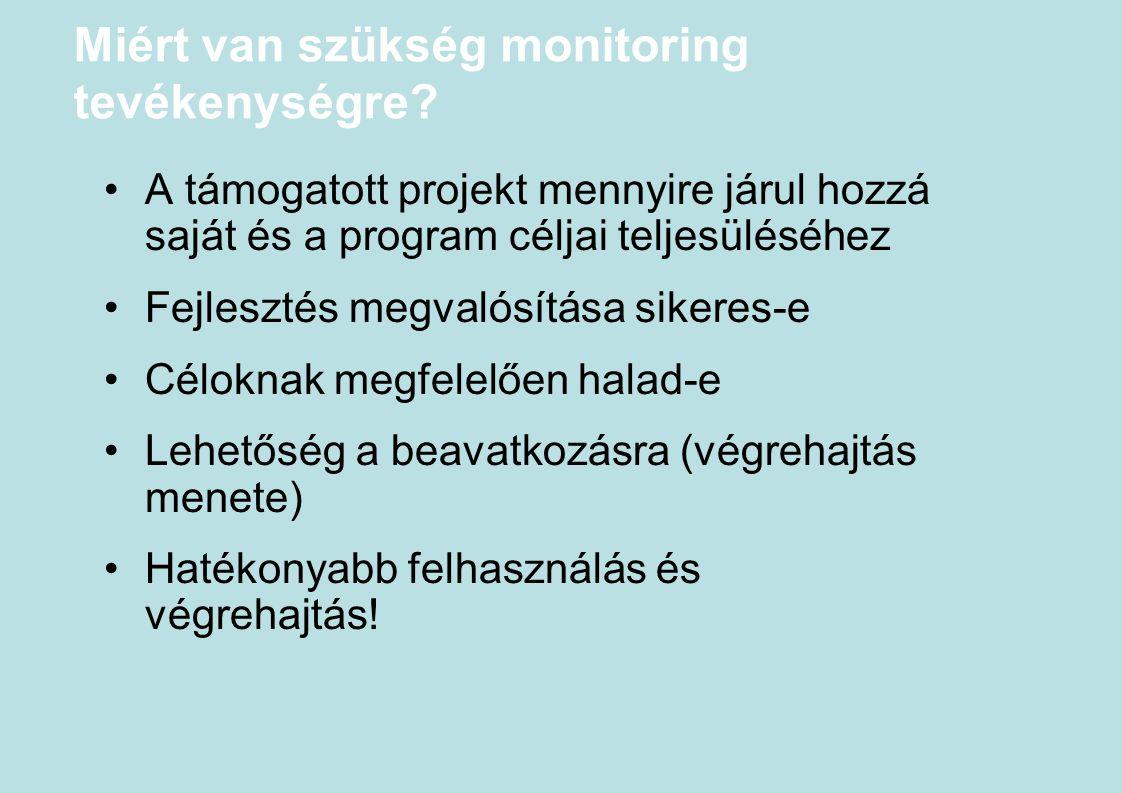 Miért van szükség monitoring tevékenységre? A támogatott projekt mennyire járul hozzá saját és a program céljai teljesüléséhez Fejlesztés megvalósítás