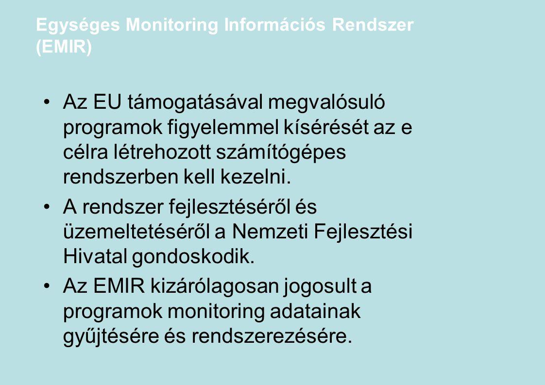Egységes Monitoring Információs Rendszer (EMIR) Az EU támogatásával megvalósuló programok figyelemmel kísérését az e célra létrehozott számítógépes re
