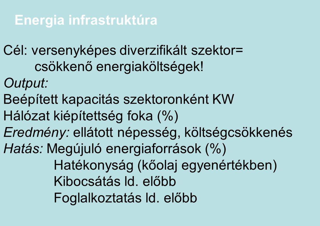 Energia infrastruktúra Cél: versenyképes diverzifikált szektor= csökkenő energiaköltségek! Output: Beépített kapacitás szektoronként KW Hálózat kiépít