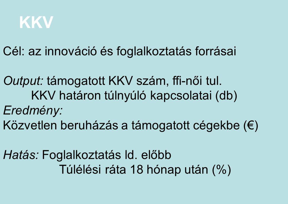 KKV Cél: az innováció és foglalkoztatás forrásai Output: támogatott KKV szám, ffi-női tul. KKV határon túlnyúló kapcsolatai (db) Eredmény: Közvetlen b
