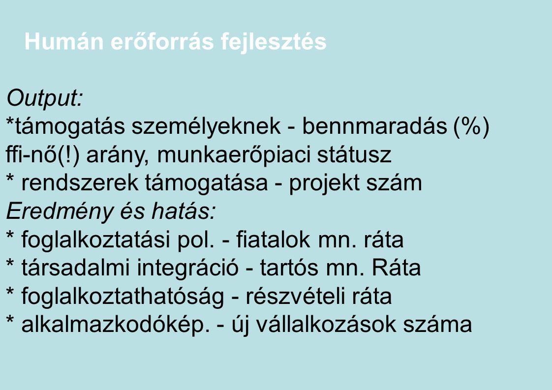 Humán erőforrás fejlesztés Output: *támogatás személyeknek - bennmaradás (%) ffi-nő(!) arány, munkaerőpiaci státusz * rendszerek támogatása - projekt
