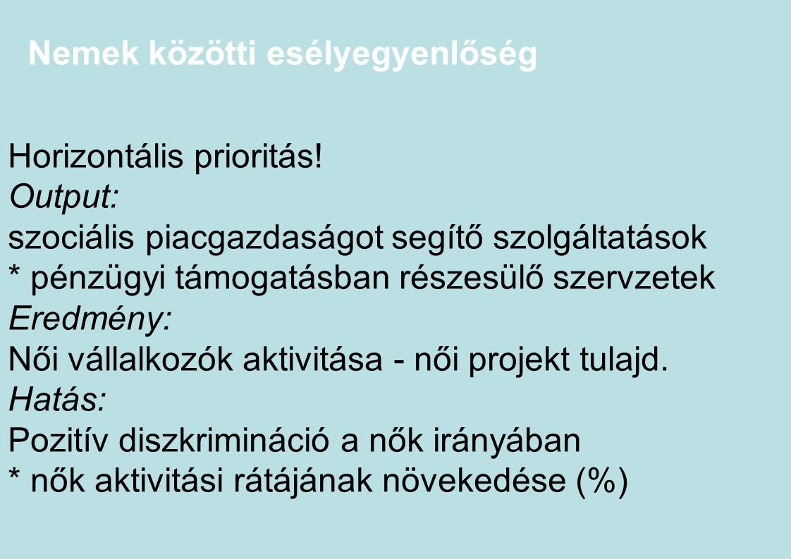 Nemek közötti esélyegyenlőség Horizontális prioritás! Output: szociális piacgazdaságot segítő szolgáltatások * pénzügyi támogatásban részesülő szervze