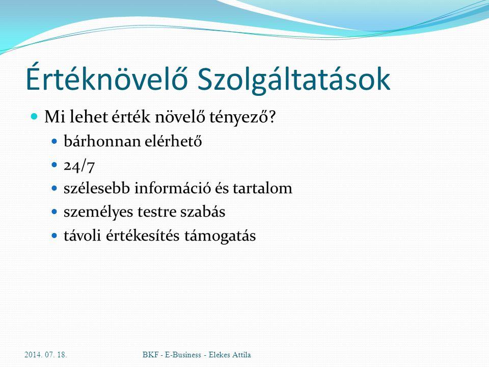 Értéknövelő Szolgáltatások Mi lehet érték növelő tényező? bárhonnan elérhető 24/7 szélesebb információ és tartalom személyes testre szabás távoli érté