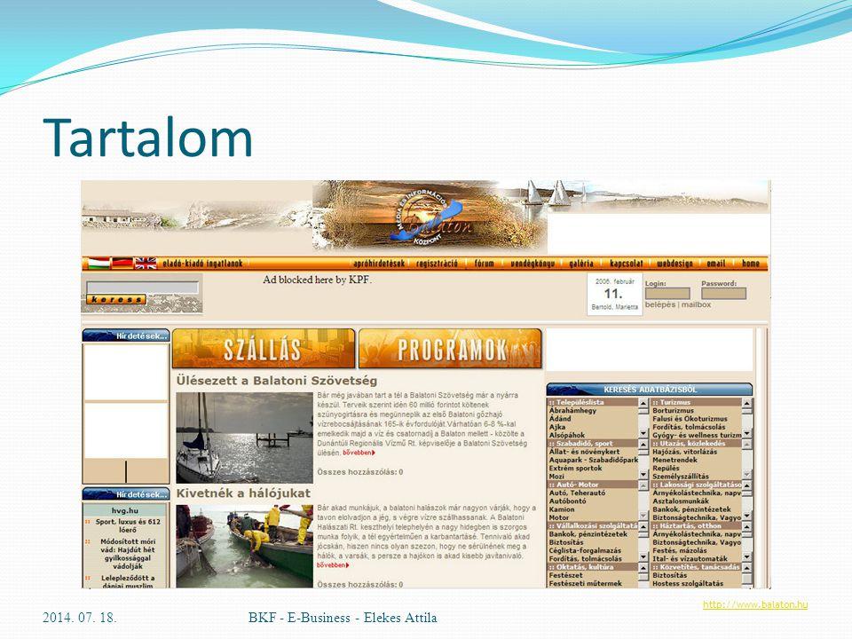 Tartalom 2014. 07. 18.BKF - E-Business - Elekes Attila http://www.balaton.hu