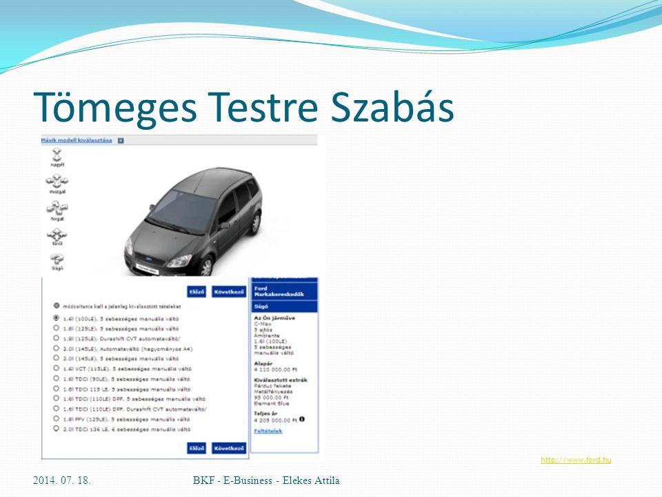 Tömeges Testre Szabás 2014. 07. 18.BKF - E-Business - Elekes Attila http://www.ford.hu