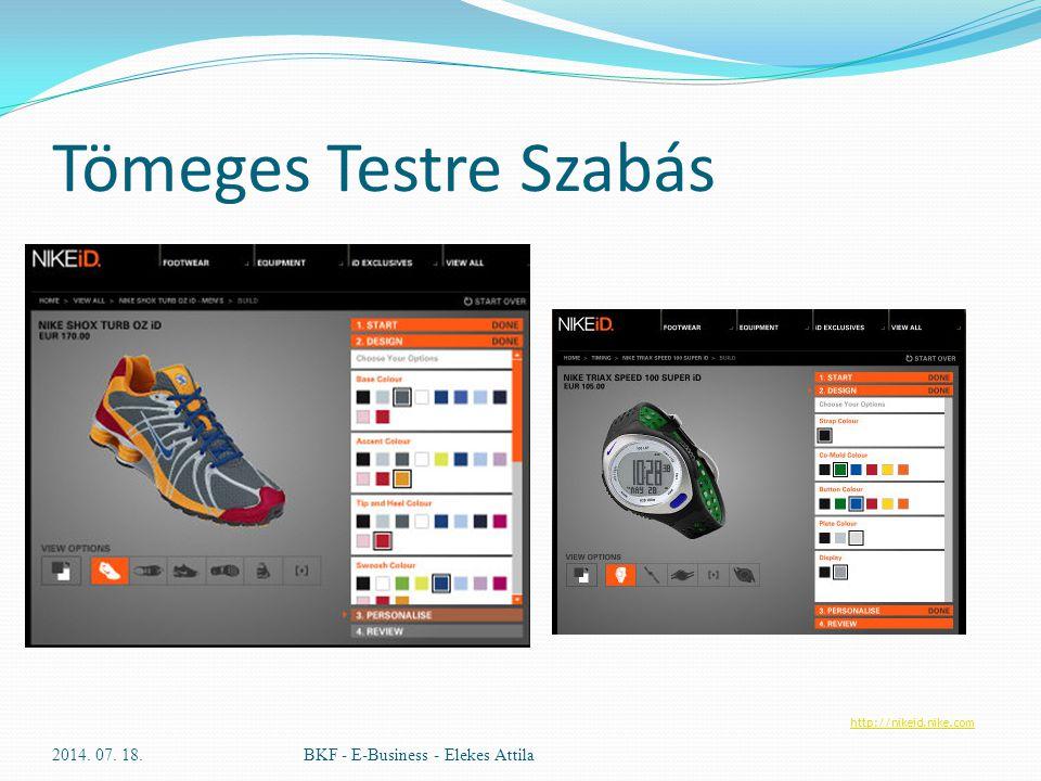 Tömeges Testre Szabás 2014. 07. 18.BKF - E-Business - Elekes Attila http://nikeid.nike.com