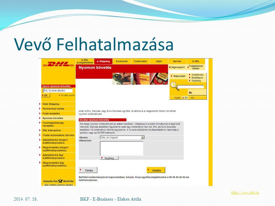Vevő Felhatalmazása 2014. 07. 18.BKF - E-Business - Elekes Attila http://www.dhl.hu