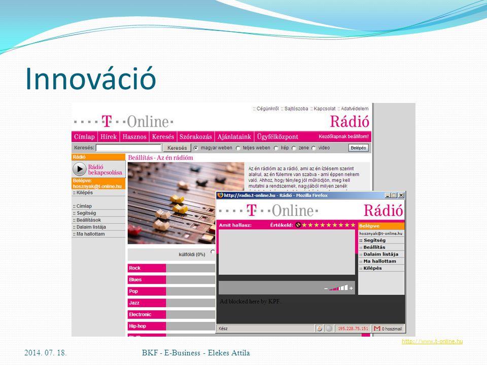 Innováció 2014. 07. 18.BKF - E-Business - Elekes Attila http://www.t-online.hu
