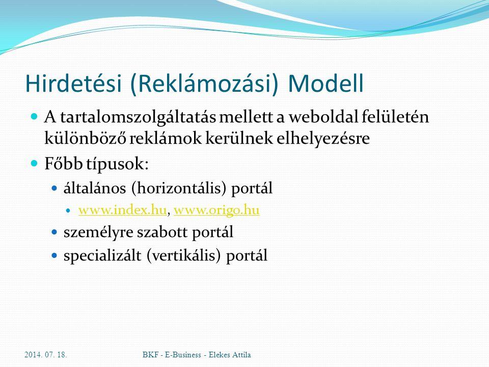 Hirdetési (Reklámozási) Modell A tartalomszolgáltatás mellett a weboldal felületén különböző reklámok kerülnek elhelyezésre Főbb típusok: általános (h
