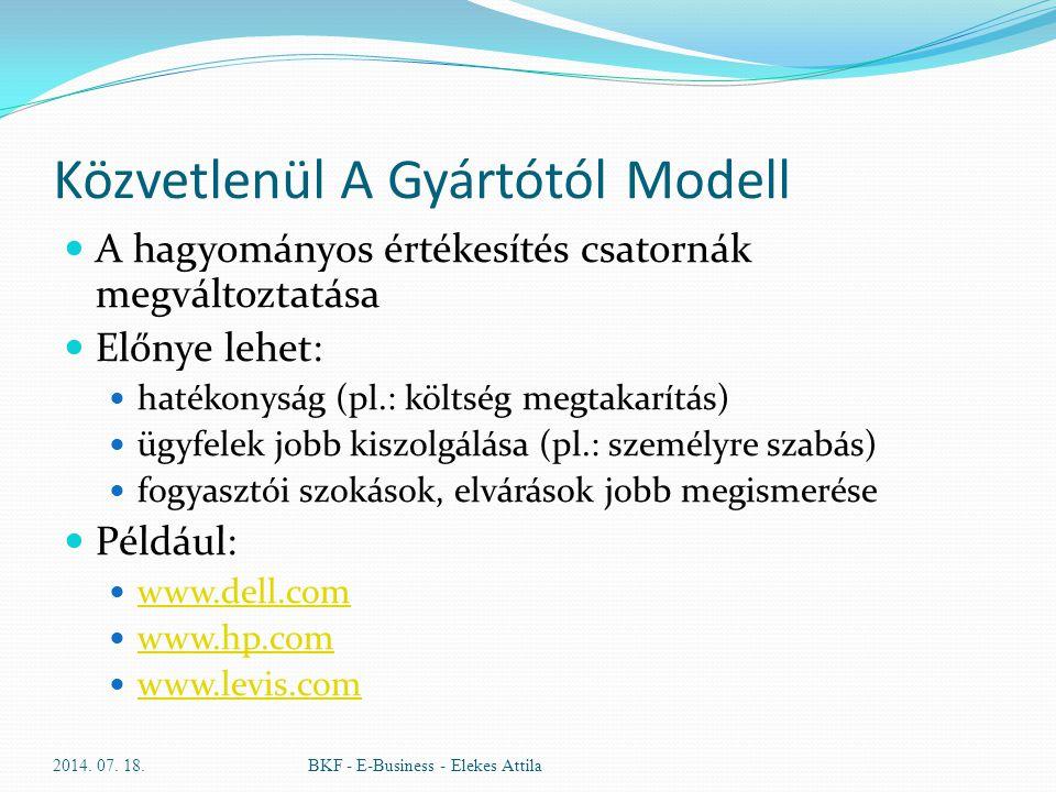 Közvetlenül A Gyártótól Modell A hagyományos értékesítés csatornák megváltoztatása Előnye lehet: hatékonyság (pl.: költség megtakarítás) ügyfelek jobb