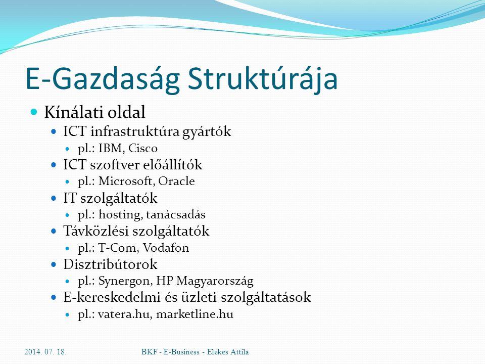 E-Gazdaság Struktúrája Kínálati oldal ICT infrastruktúra gyártók pl.: IBM, Cisco ICT szoftver előállítók pl.: Microsoft, Oracle IT szolgáltatók pl.: h